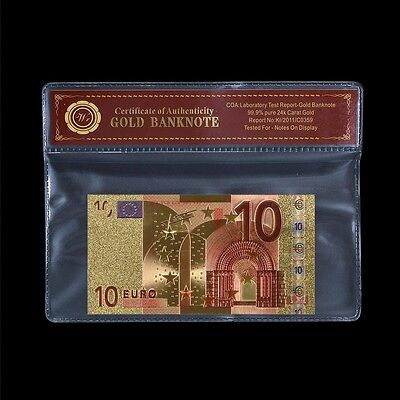 WR Europe €10 Euro Banknote Gold World Paper Money Collect Business Gifts +COA