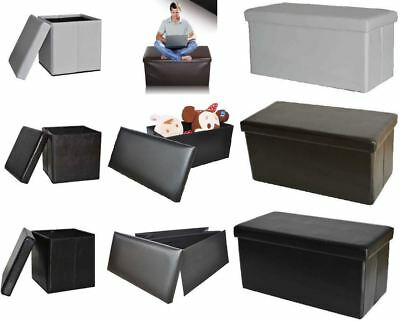 New Ottoman Faux Leather Folding Storage Seat Stool Pouffe High Quality Durable