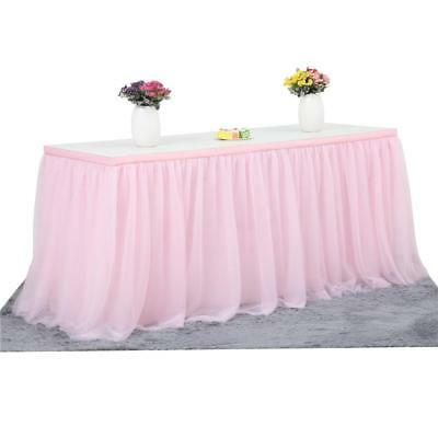 Tulle Tutu Table Skirt Tableware Wedding Party Baby Shower Decora 6ft Pink