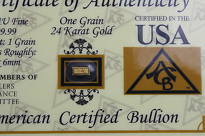 1Graine Certified Tiny Gold Bar:::999  Pure Gold::