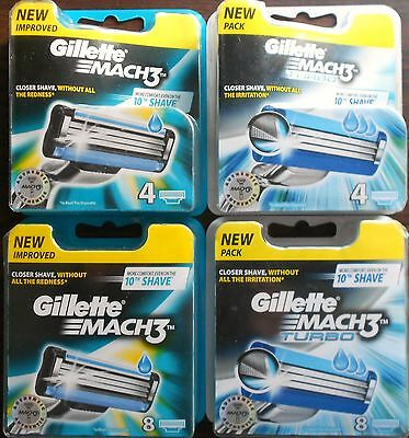 Gillette Mach 3 Razor Blades 4 Or 8 Pack