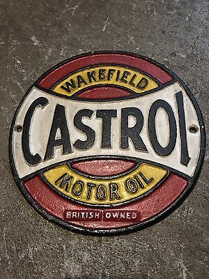 1968 Castrol cast iron motor oil gas Wakefield Sign round garage car cave race