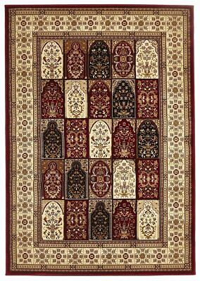 Traditional Panel Design Burgundy with Ivory Traditional Rugs Floor Carpet Home