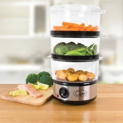 New Stainless Steel 3 Tier Layer Electric Food Steamer 6 Litre 400w Timer Bowl