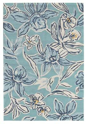 Whimsical Blue Floral Indoor Outdoor Rug Outdoor Rugs Floor Carpet Home