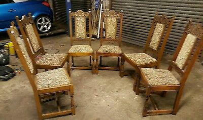 6  old charm  oak carved  chairs