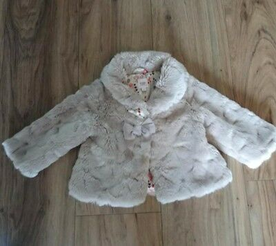 Ted Baker Girl's Baby Faux Fur Coat Light Pink Winter Size 6-9 Months Bow