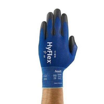 3 Pair Ansell HyFlex 11-618 Polyurethane Coated Precision Glove Size 8