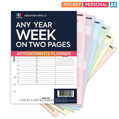 Any year WEEK on TWO PAGES appointments diary FILOFAX A5 / PERSONAL compatible