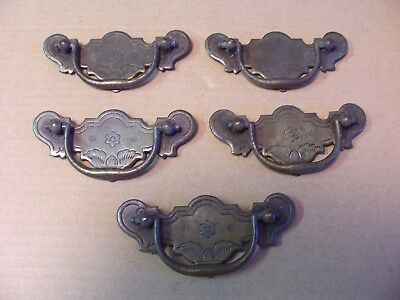 (5) Antique Solid Brass Drawer Pulls / Handles -- Original Screws Included