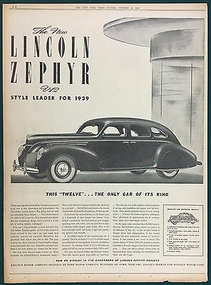 1939 LINCOLN ZEPHYR V-12 Original Full Page Newspaper Ad, New York Times, Ford