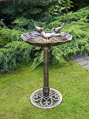 New Bronze Effect Bird Bath Oyster Shell Shape Table Free standing Pedestal