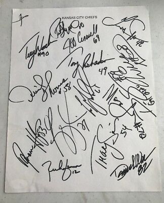 d2177802999 1997 Kansas City Chiefs TEAM Signed NFL Team SHEET W Derrick Thomas JSA LOA