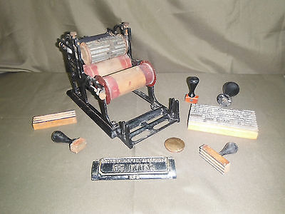 Antique Automatic Rotary Printer No. 3 Pat'd Oct 11, 1904 with Plates & Blocks