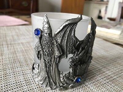 Pewter Wizard and Dragon Pewter Candle Holder  SHIPS FREE