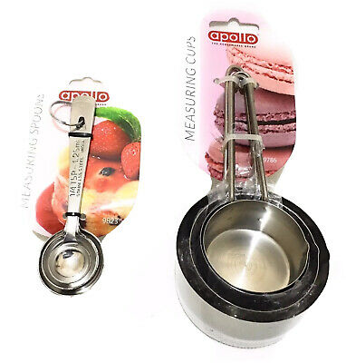 Aopllo Measuring Cup Set and Measuring Spoon Set Stainless Steel - Assorted
