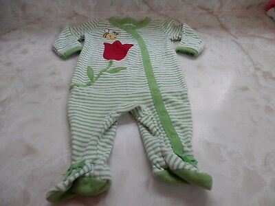 Baby Girl 0-3 Months Gymboree Green White Striped Footed Snap Sleeper Flower Bee