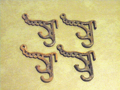 4 Ornate Antique Late 1800S Cast Iron Victorian Triple Hook Coat/hat Hooks