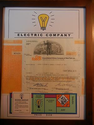 Monopoly Electric Company & Water Works Art with Stock Certificates (set of 2)