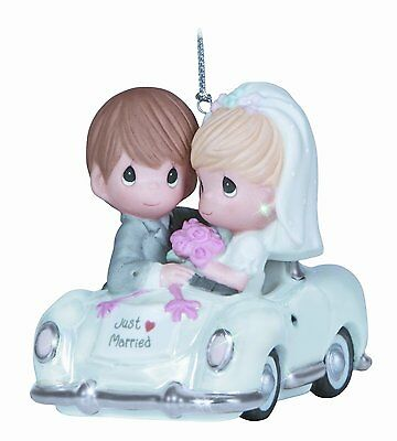 "Precious Moments, Christmas Gifts, ""Just Married"", Bisque Porcelain Ornament,"