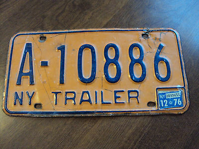 1976 New York Trailer License Plate #a-10886