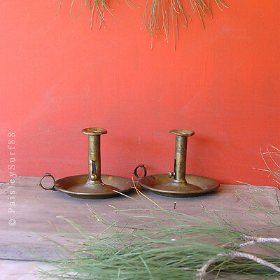 PAIR Antique Patina Brass CANDLE Holders Stick Push-up Lever Chamber Finger Loop
