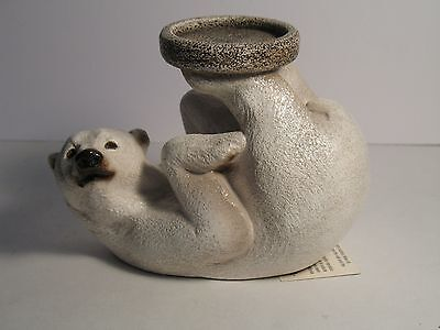 M. Pena Windstone Editions Polar Bear Candle Stand Signed with Tag 2002