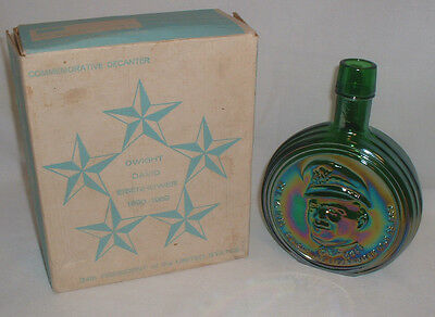 """General Dwight D. Eisenhower"" Wheaton Green Iridescent Glass Decanter With Box"