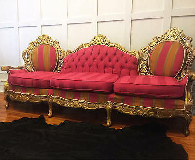 FREE SHIPPING Vintage victorian sofa ornately carved french settee