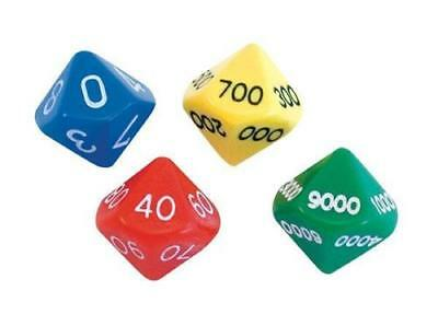 4 x Ten Sided Dice: 0000-9000, 000-900, 00-90, 0-9 Teaching Resource