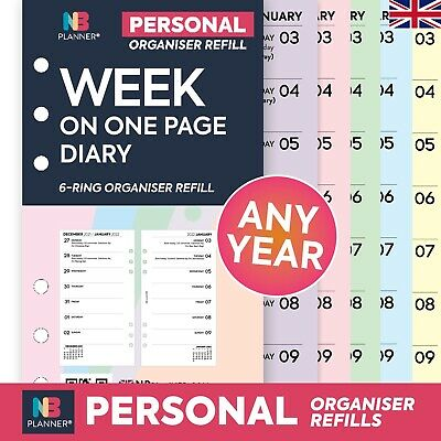 2020 Week on two pages lined diary organiser refill Filofax planner compatible