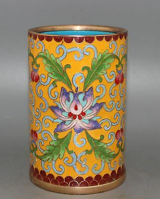 Ancient chinese Cloisonne copper painting flower brush pot