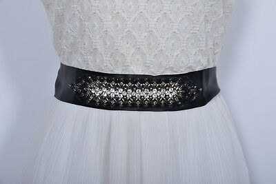 Bridal sash wedding accessories belt black satin ribbon beads rhinestone crystal