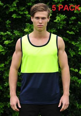 5 X Hi Vis Cool Breathable Singlet, Yellow/navy, S-5Xl, Best Price & Quality