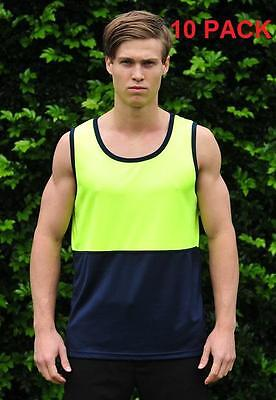 10 X Hi Vis Cool Breathable Singlet, Yellow/navy, S-4Xl, Best Price & Quality