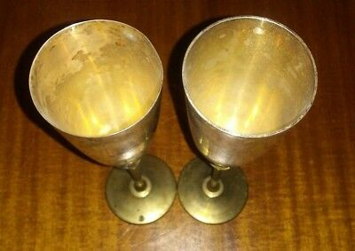 Vintage Set 2 Brass & Silver Plated Tulip Goblets Wine Cup India VTG 1 Pair