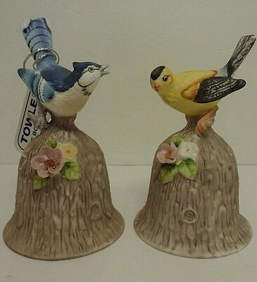 Vintage Towle Fine Bone China Bluejay & Yellow Goldfinch Song Bird Bells Set