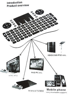 i8+ 2.4GHz Wireless keyboard Air Mouse Remote For Android TV BOX Mini PC Wht #2