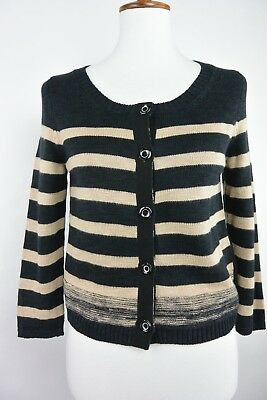 46c6f3566 ANTHROPOLOGIE MOTH BAXENDALE Chunky Striped Knit Cardigan Sweater ...