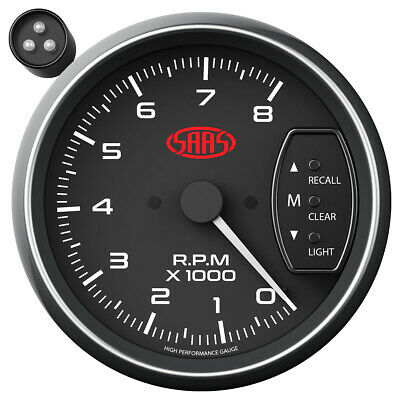 SAAS SG-TAC334B 3.75 Inch 95mm / Tacho Black Face Gauge Shift Light  - 8000RPM