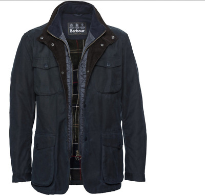 Barbour Ogston Men's Waxed  Cotton  Insulated Jacket - Olive, Navy