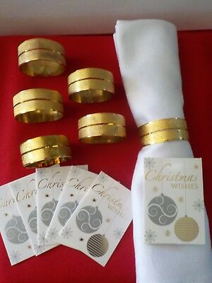Set Of 6 Gold Plated Napkins Rings / Cardholders With 6 White Linen Napkins