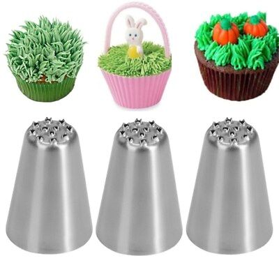 3X Stainless Steel Grass Icing Piping Nozzles Cupcake Decorating Baking Tools