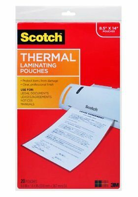 Scotch Thermal Laminating Pouches, 8.9 x 14.4-Inches, Legal Size, 20-Pack