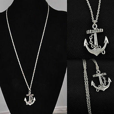 Vintage Retro Womens Mens Jewelry Silver Anchor Alloy Chain Pendant Necklace