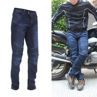 Motorcycle Pants Wearproof Jeans Motocross Racing Protective Trousers W/Kneepads