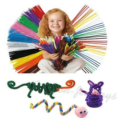 100X/Lots Chenille Stems Pipe Cleaners Kid Plush Creative DIY Handicraft Toy