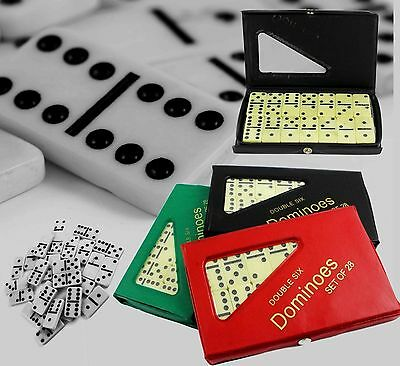 6 Six Double Dominoes Set of 28 with Box Traditional Standard Tiles Games Travel
