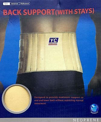 SKIN BACK SUPPORT WITH STAYS Waist Belt Back Injury Wrap Pain Splints Lumbar