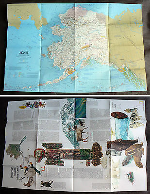 1975 National Geographic Map ALASKA old vintage USA reference poster wildlife of